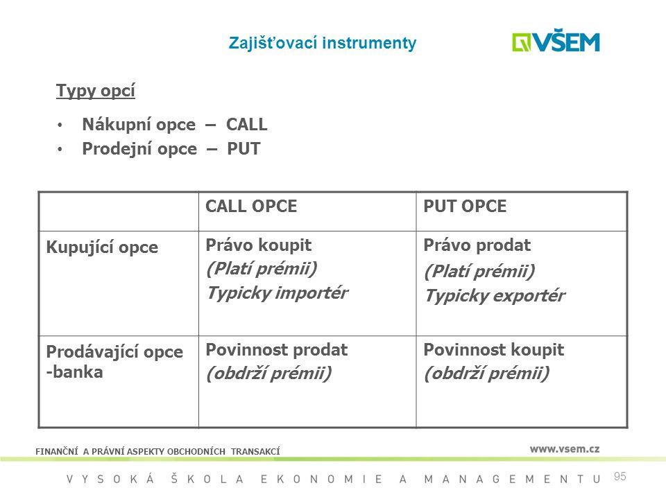 95 Zajišťovací instrumenty CALL OPCEPUT OPCE Kupující opce Právo koupit (Platí prémii) Typicky importér Právo prodat (Platí prémii) Typicky exportér P