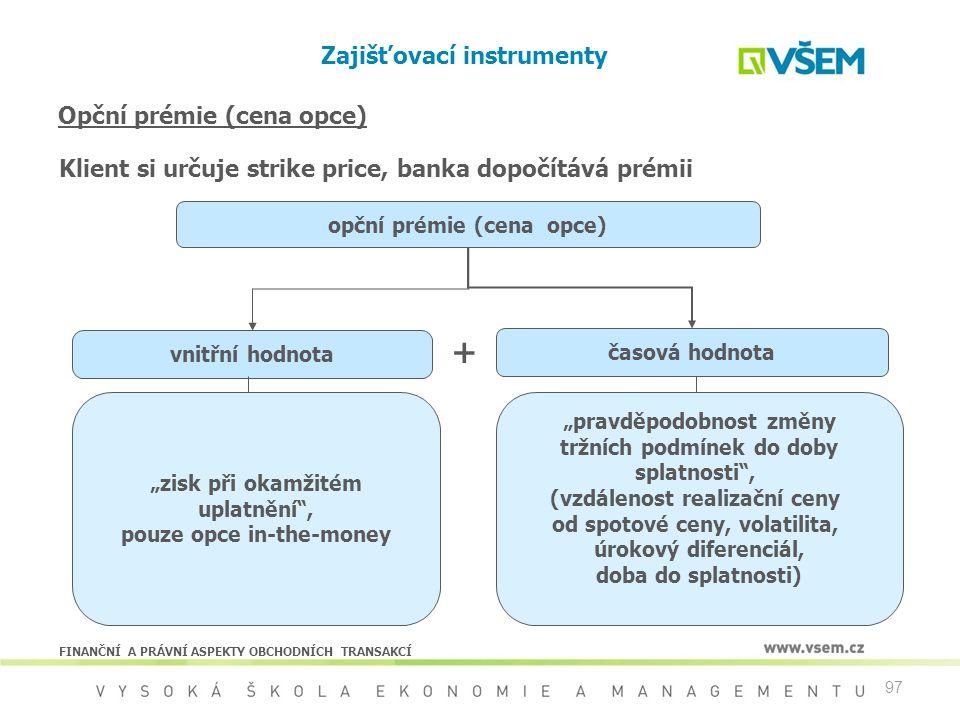 """97 Opční prémie (cena opce) opční prémie (cena opce) vnitřní hodnota časová hodnota """"zisk při okamžitém uplatnění"""", pouze opce in-the-money """"pravděpod"""