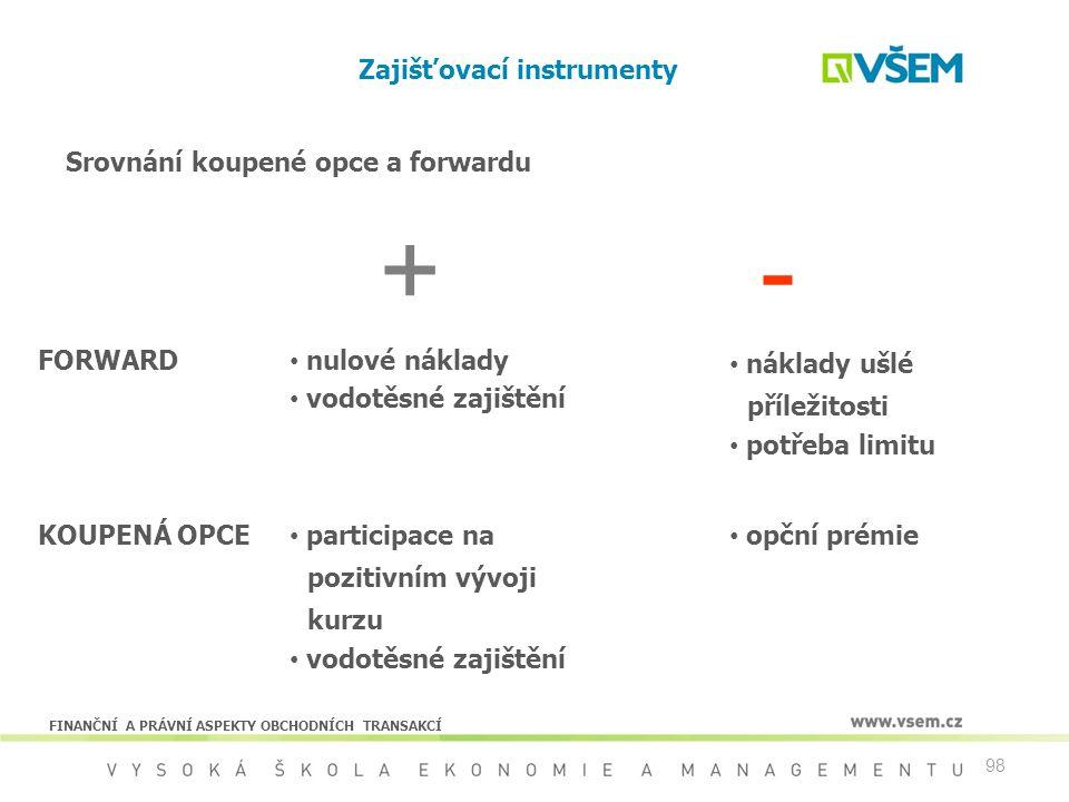 98 Zajišťovací instrumenty + - FORWARD nulové náklady vodotěsné zajištění náklady ušlé příležitosti potřeba limitu KOUPENÁ OPCE participace na pozitiv