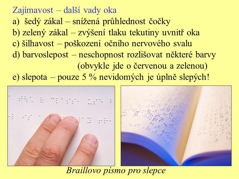 Zajímavost – další vady oka a)šedý zákal – snížená průhlednost čočky b) zelený zákal – zvýšení tlaku tekutiny uvnitř oka c) šilhavost – poškození oční