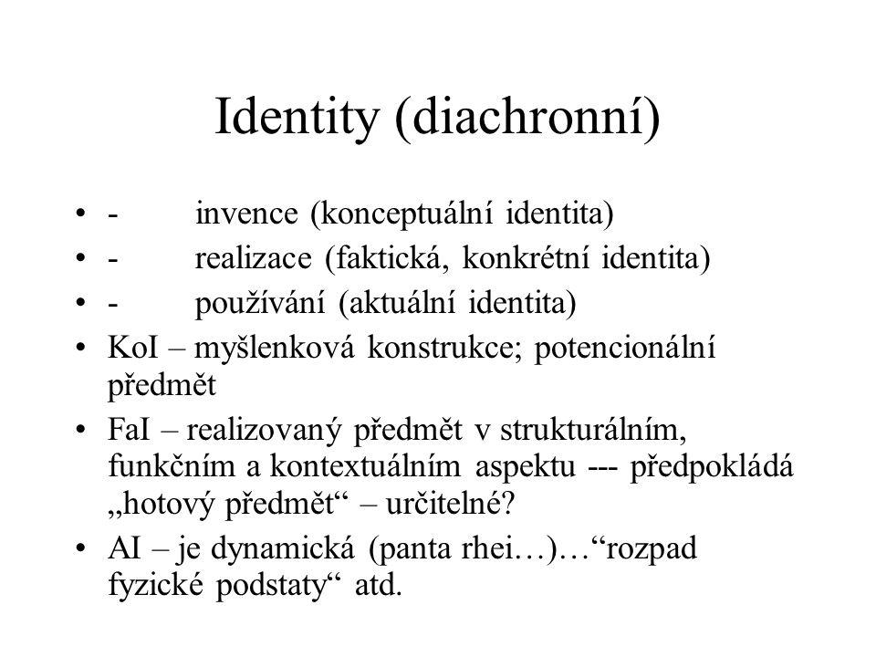 Identity (diachronní) - invence (konceptuální identita) - realizace (faktická, konkrétní identita) - používání (aktuální identita) KoI – myšlenková ko