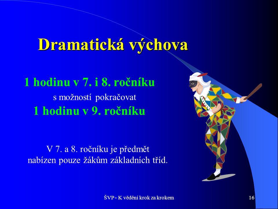 ŠVP - K vědění krok za krokem16 Dramatická výchova 1 hodinu v 7.