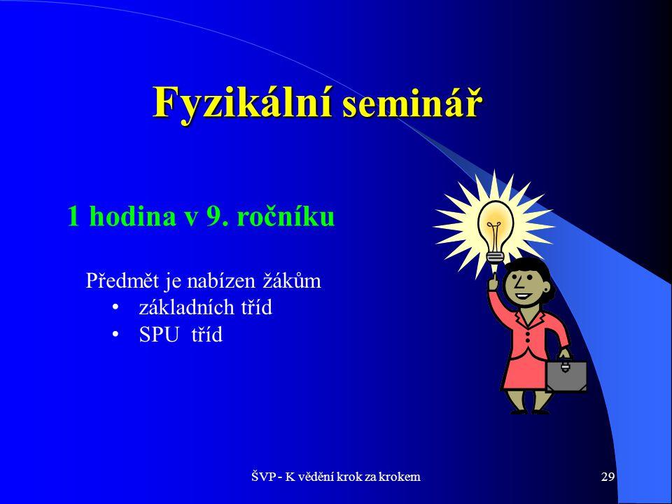 ŠVP - K vědění krok za krokem29 Fyzikální seminář 1 hodina v 9.