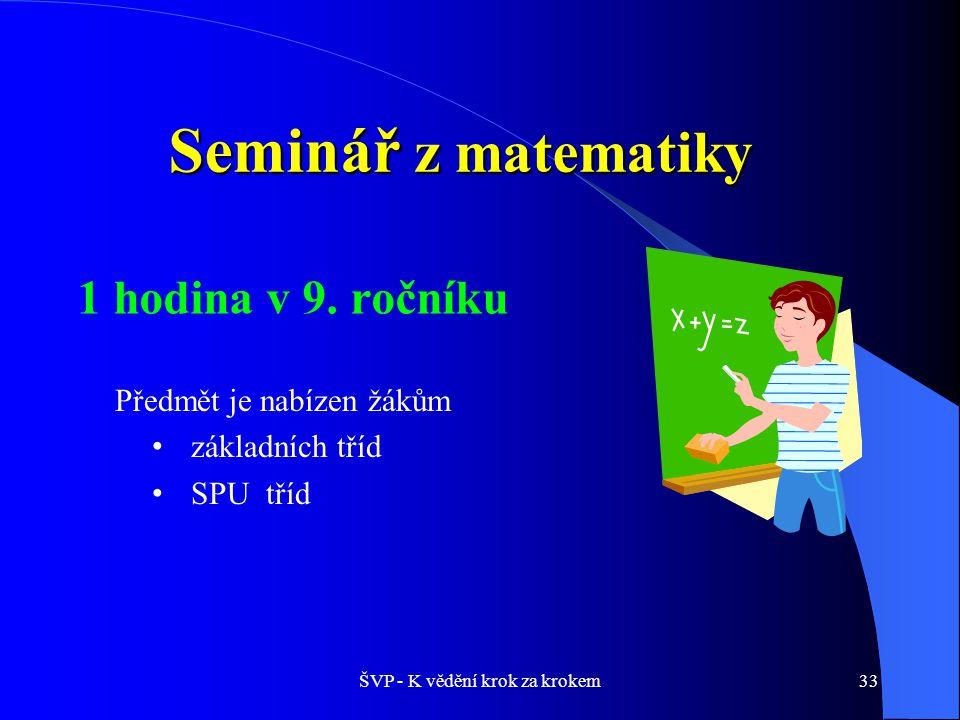 ŠVP - K vědění krok za krokem33 Seminář z matematiky Předmět je nabízen žákům základních tříd SPU tříd 1 hodina v 9.
