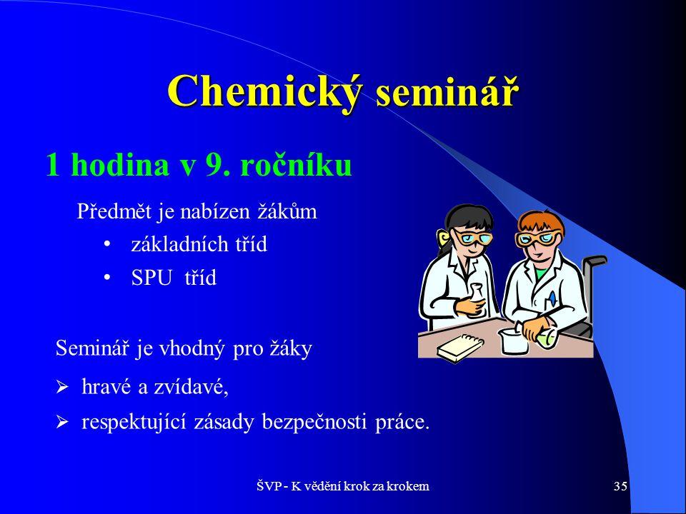 ŠVP - K vědění krok za krokem35 Chemický seminář 1 hodina v 9.