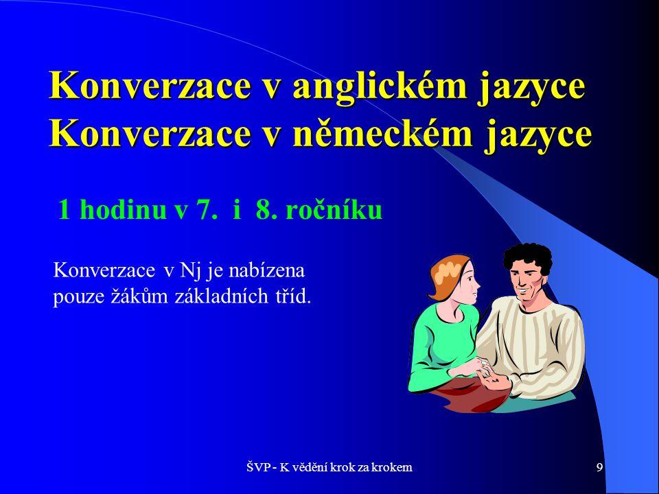 ŠVP - K vědění krok za krokem10 Konverzace v cizím jazyce je zaměřena na:  získávání zájmu o cizí jazyk,  osvojení si a procvičování jazykových znalostí a dovedností zejména při poslechu s porozuměním a při aktivním využití komunikace v cizím jazyce,  získávání větší samostatnosti a jistoty v užívání již známého jazykového materiálu