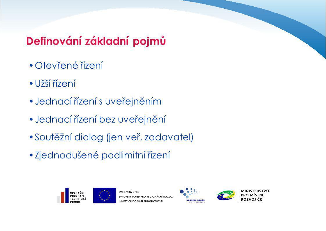 Definování základní pojmů Otevřené řízení Užší řízení Jednací řízení s uveřejněním Jednací řízení bez uveřejnění Soutěžní dialog (jen veř. zadavatel)