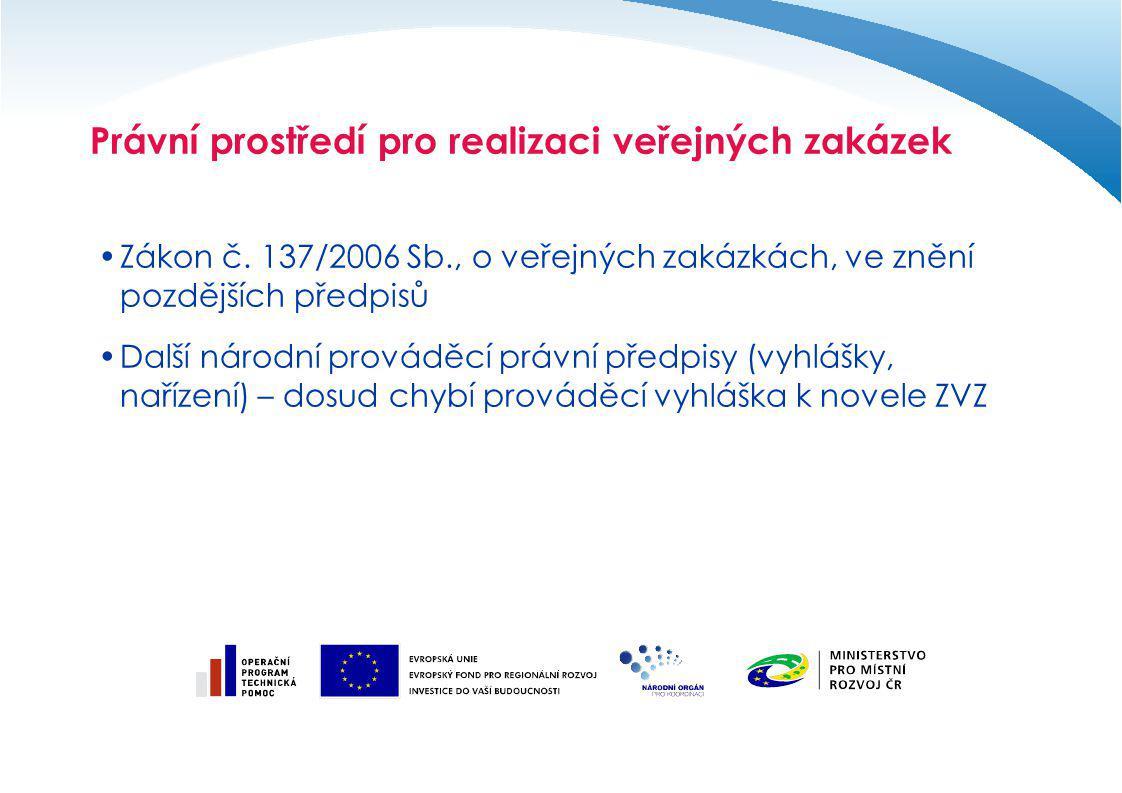 Právní prostředí pro realizaci veřejných zakázek Směrnice Evropského parlamentu a Rady č.