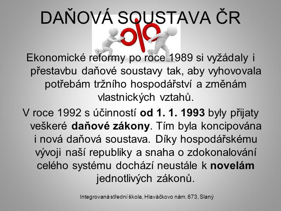 DAŇOVÁ SOUSTAVA ČR Ekonomické reformy po roce 1989 si vyžádaly i přestavbu daňové soustavy tak, aby vyhovovala potřebám tržního hospodářství a změnám