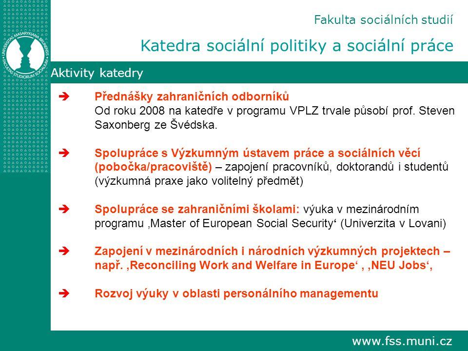 www.fss.muni.cz Aktivity katedry  Přednášky zahraničních odborníků Od roku 2008 na katedře v programu VPLZ trvale působí prof.