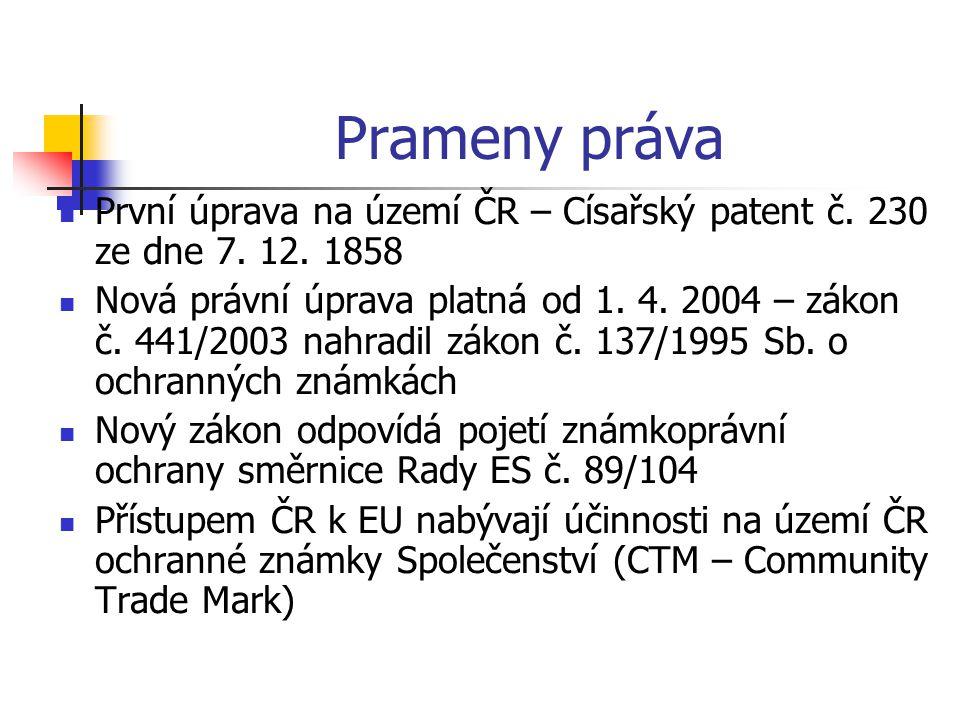 Prameny práva První úprava na území ČR – Císařský patent č.