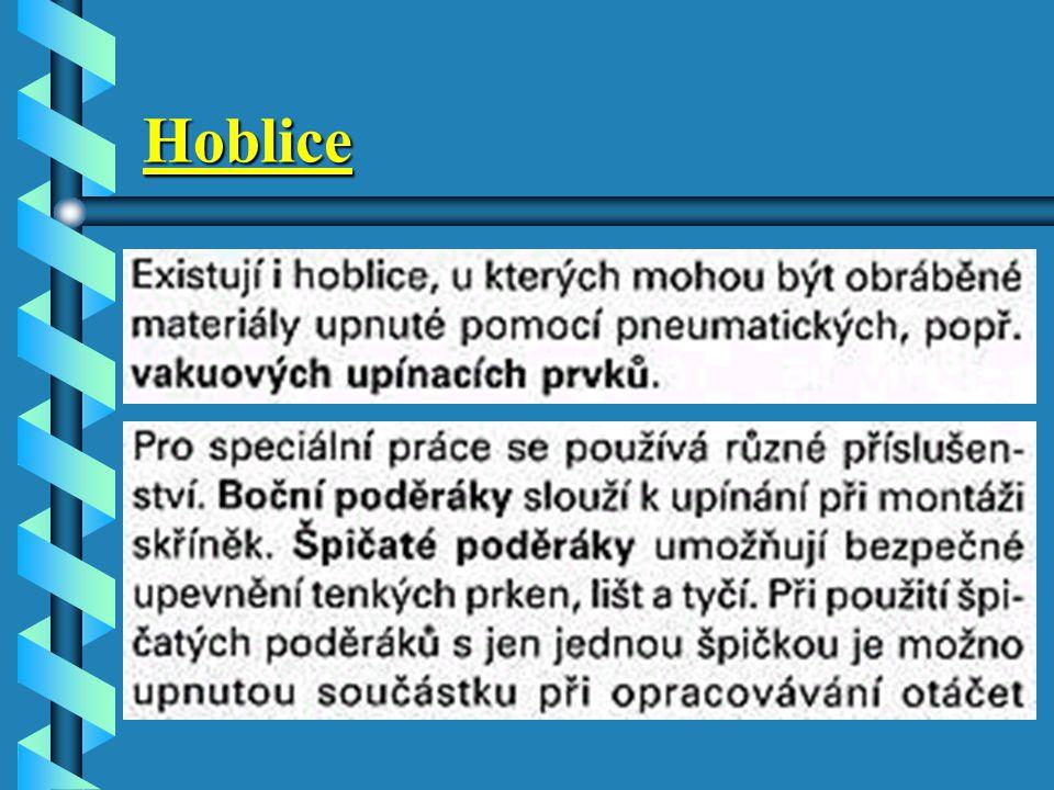Hoblice U hoblic bez zásuvky jsou ruční nástroje přehledně uloženy ve speciálních skříňkách na nástroje. Ty by měly být umístěny v blízkosti hoblice n