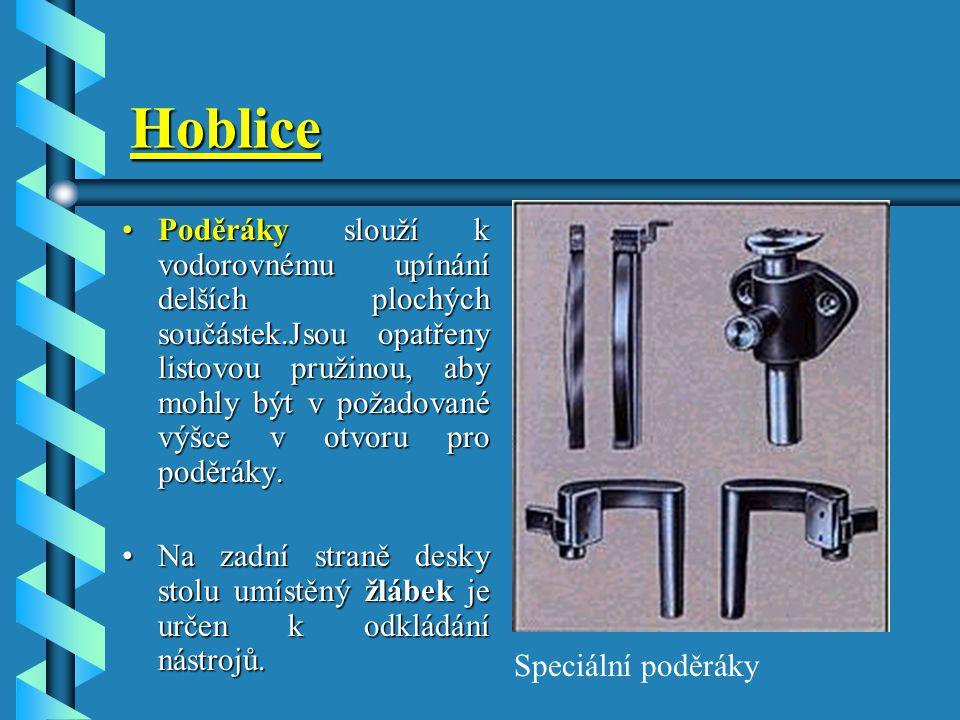 RUČNÍ OBRÁBĚNÍ DŘEVA Hoblice je pracovní stůl truhláře a slouží k pokládání a upínání součástek při jejich opracování. Skládá se z desky a stojanu. Tě