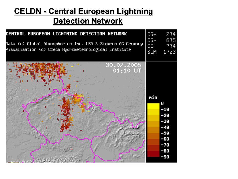 """CELDN - Central European Lightning Detection Network Detektory (senzory) Magnetický zaměřovač (""""vyhledávač směrů"""") Detekce blesků typu mrak – země ve"""