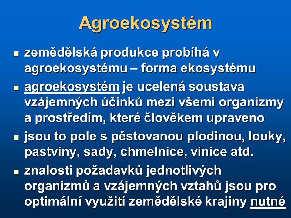 Agroekosystém zemědělská produkce probíhá v agroekosystému – forma ekosystému zemědělská produkce probíhá v agroekosystému – forma ekosystému agroekos