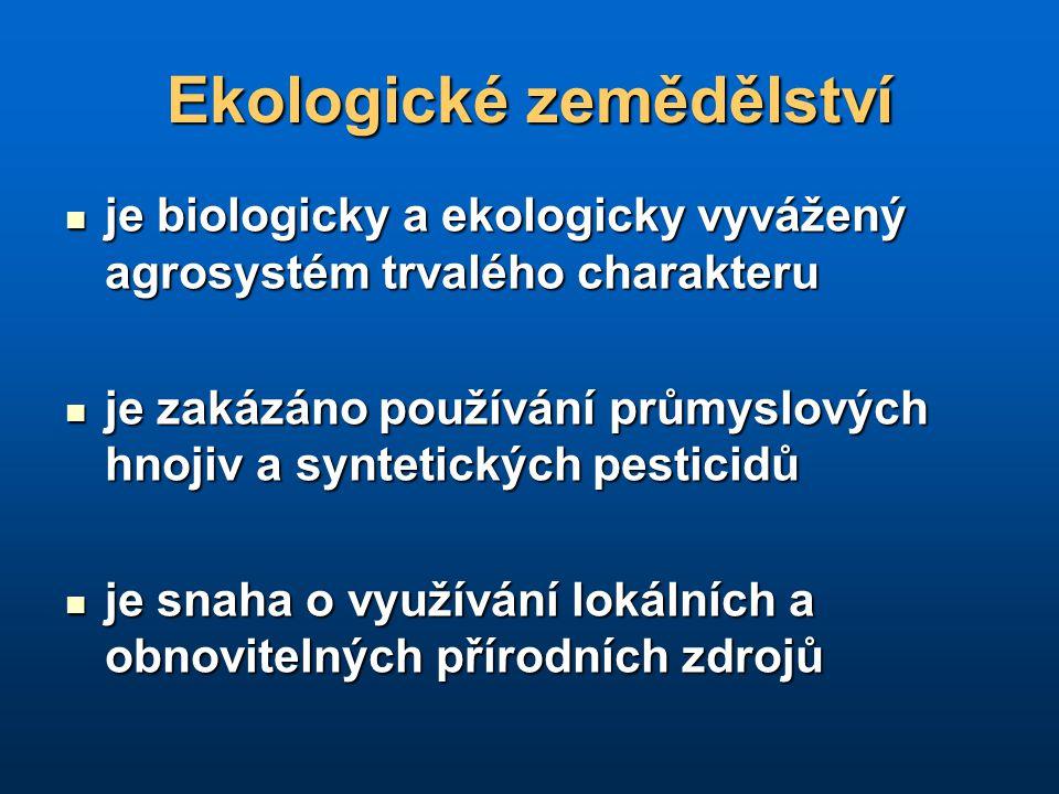 Ekologické zemědělství je biologicky a ekologicky vyvážený agrosystém trvalého charakteru je biologicky a ekologicky vyvážený agrosystém trvalého char