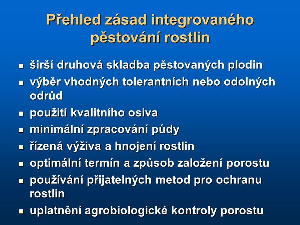 Přehled zásad integrovaného pěstování rostlin širší druhová skladba pěstovaných plodin širší druhová skladba pěstovaných plodin výběr vhodných toleran