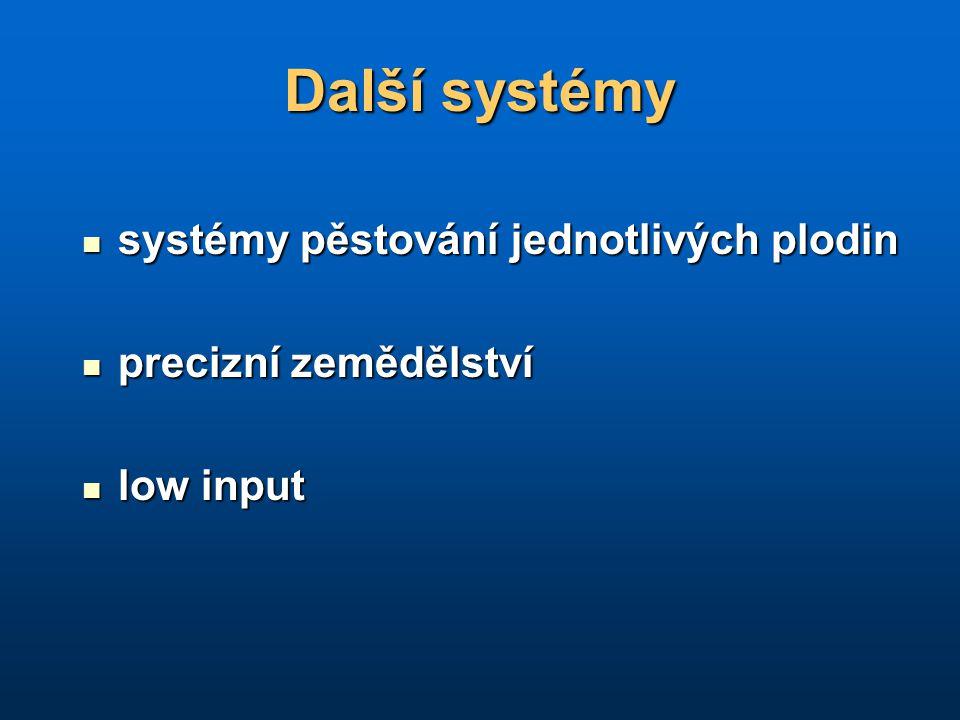 Další systémy systémy pěstování jednotlivých plodin systémy pěstování jednotlivých plodin precizní zemědělství precizní zemědělství low input low inpu