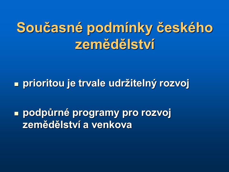 Současné podmínky českého zemědělství prioritou je trvale udržitelný rozvoj prioritou je trvale udržitelný rozvoj podpůrné programy pro rozvoj zeměděl