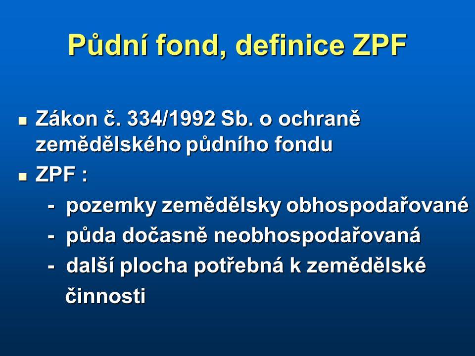 Půdní fond, definice ZPF Zákon č. 334/1992 Sb. o ochraně zemědělského půdního fondu Zákon č. 334/1992 Sb. o ochraně zemědělského půdního fondu ZPF : Z