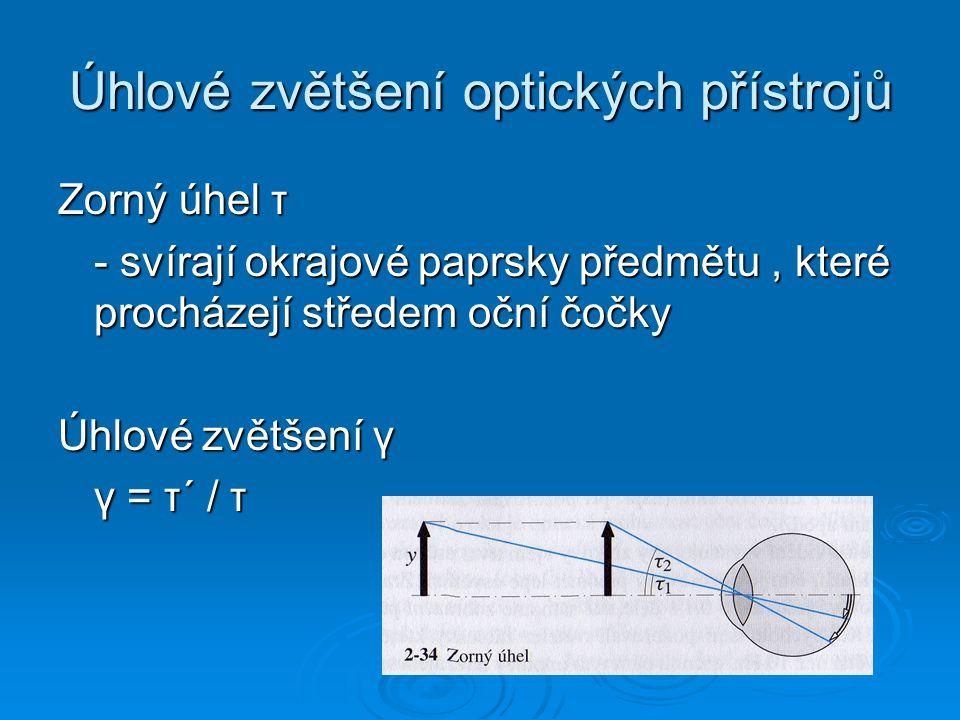 Úhlové zvětšení optických přístrojů Zorný úhel τ - svírají okrajové paprsky předmětu, které procházejí středem oční čočky Úhlové zvětšení γ γ = τ´ / τ