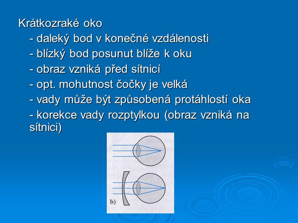 Dalekozraké oko - daleký bod v nekonečnu - blízký bod posunut dále od oka - obraz vzniká za sítnicí - opt.