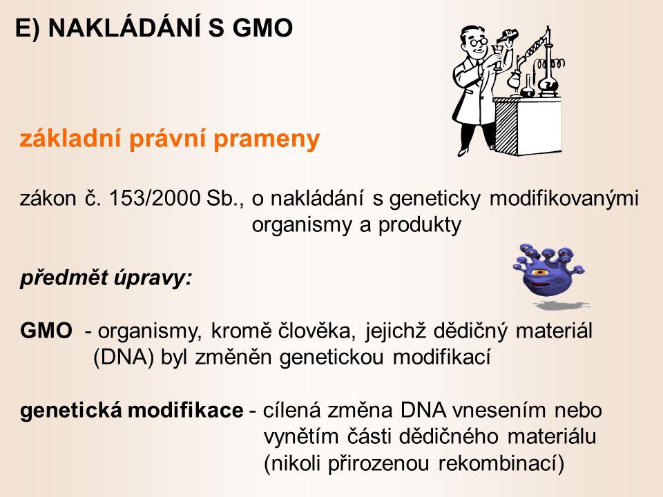 E) NAKLÁDÁNÍ S GMO základní právní prameny zákon č.