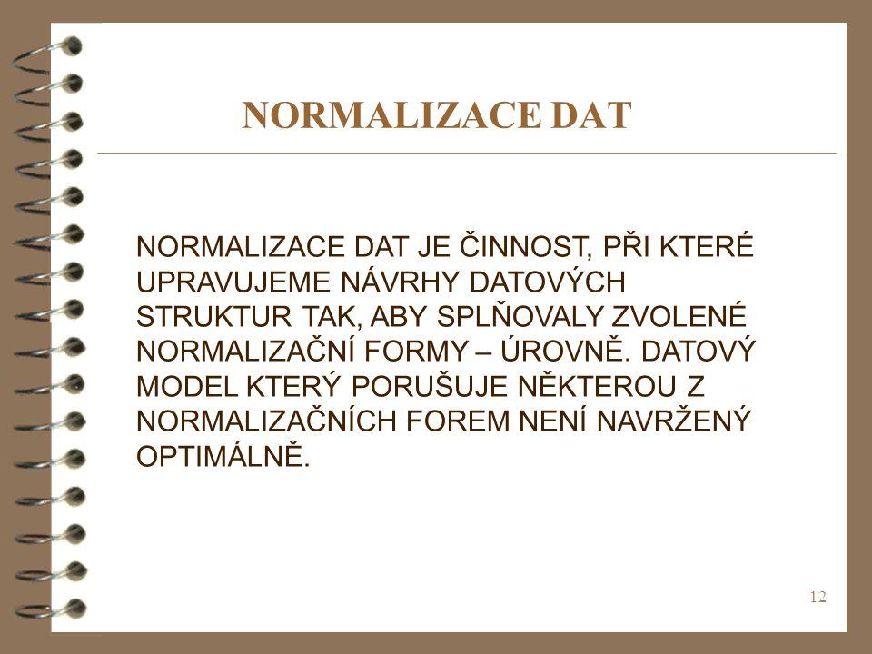 12 NORMALIZACE DAT NORMALIZACE DAT JE ČINNOST, PŘI KTERÉ UPRAVUJEME NÁVRHY DATOVÝCH STRUKTUR TAK, ABY SPLŇOVALY ZVOLENÉ NORMALIZAČNÍ FORMY – ÚROVNĚ. D