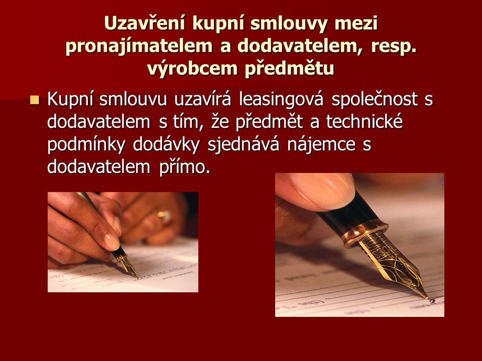 Uzavření kupní smlouvy mezi pronajímatelem a dodavatelem, resp.