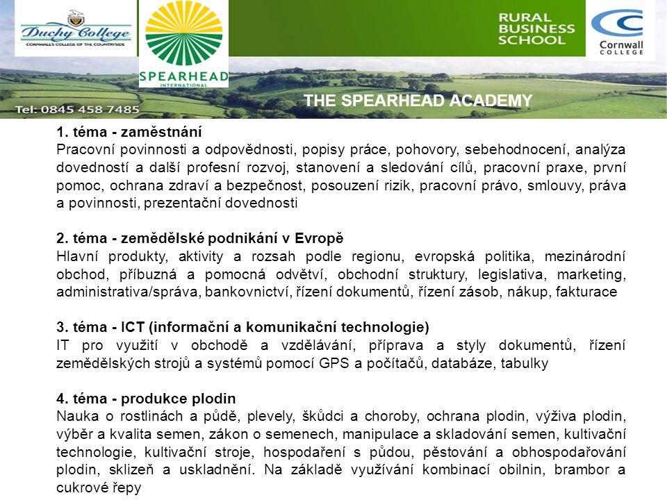 1. téma - zaměstnání Pracovní povinnosti a odpovědnosti, popisy práce, pohovory, sebehodnocení, analýza dovedností a další profesní rozvoj, stanovení