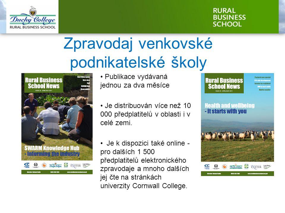 Zpravodaj venkovské podnikatelské školy Publikace vydávaná jednou za dva měsíce Je distribuován více než 10 000 předplatitelů v oblasti i v celé zemi.