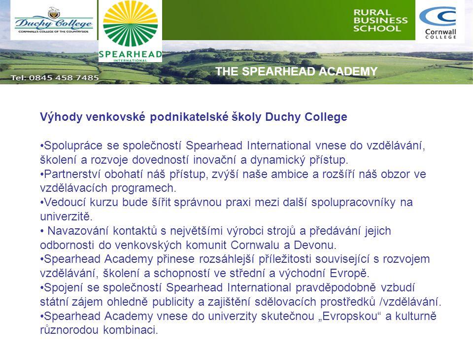 Výhody venkovské podnikatelské školy Duchy College Spolupráce se společností Spearhead International vnese do vzdělávání, školení a rozvoje dovedností