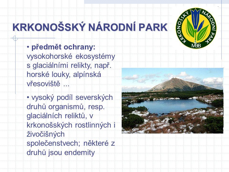 KRKONOŠSKÝ NÁRODNÍ PARK předmět ochrany: vysokohorské ekosystémy s glaciálními relikty, např. horské louky, alpínská vřesoviště... vysoký podíl severs