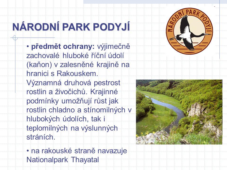 předmět ochrany: výjimečně zachovalé hluboké říční údolí (kaňon) v zalesněné krajině na hranici s Rakouskem. Významná druhová pestrost rostlin a živoč