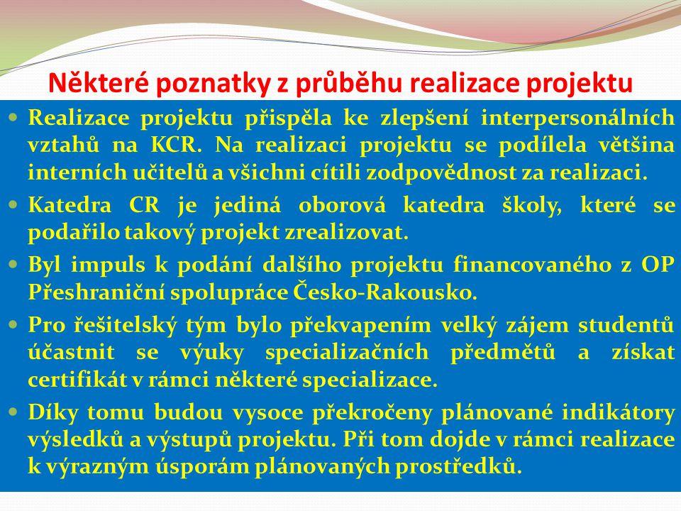 Některé poznatky z průběhu realizace projektu Realizace projektu přispěla ke zlepšení interpersonálních vztahů na KCR. Na realizaci projektu se podíle