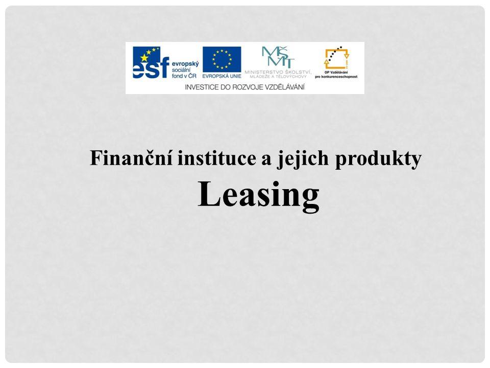 Finanční instituce a jejich produkty Leasing