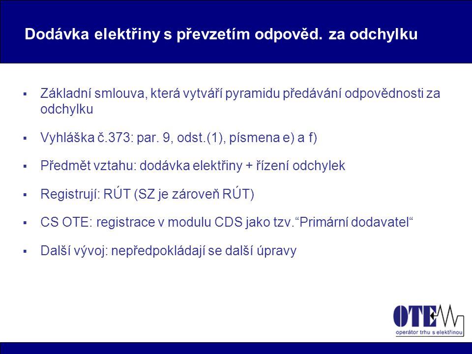 Pevné diagramy RÚT-OPM  Obchodní vztah, který odděluje dodávku elektřiny od řízení odchylek  Vyhláška č.373: par.