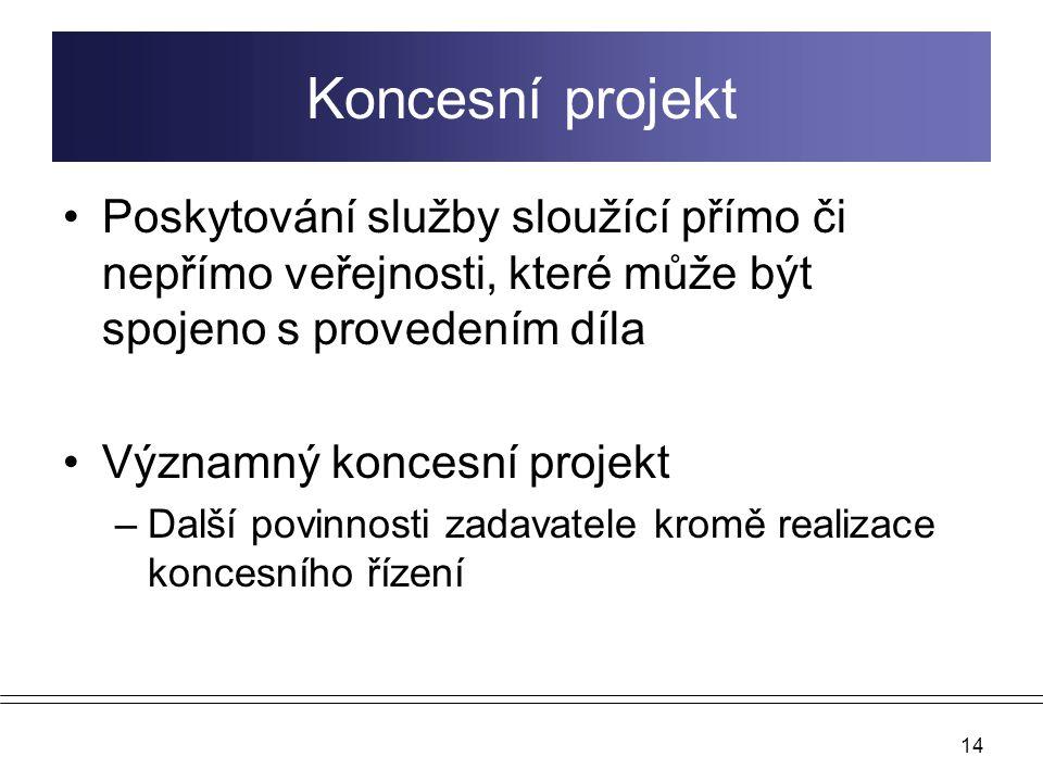 14 Koncesní projekt Poskytování služby sloužící přímo či nepřímo veřejnosti, které může být spojeno s provedením díla Významný koncesní projekt –Další