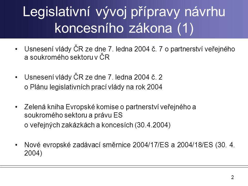 2 Legislativní vývoj přípravy návrhu koncesního zákona (1) Usnesení vlády ČR ze dne 7. ledna 2004 č. 7 o partnerství veřejného a soukromého sektoru v