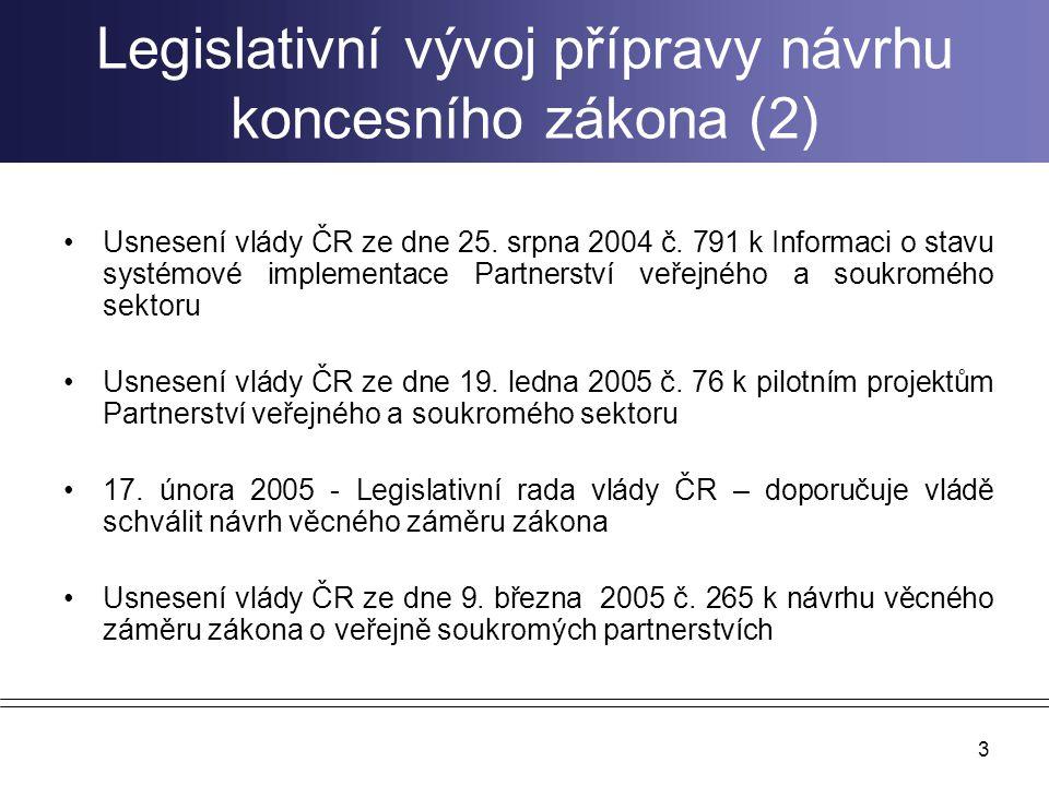 3 Legislativní vývoj přípravy návrhu koncesního zákona (2) Usnesení vlády ČR ze dne 25. srpna 2004 č. 791 k Informaci o stavu systémové implementace P