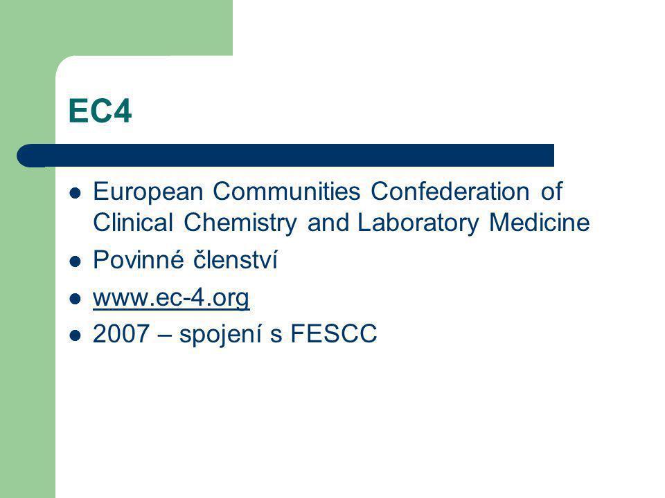 EC4 European Communities Confederation of Clinical Chemistry and Laboratory Medicine Povinné členství www.ec-4.org 2007 – spojení s FESCC