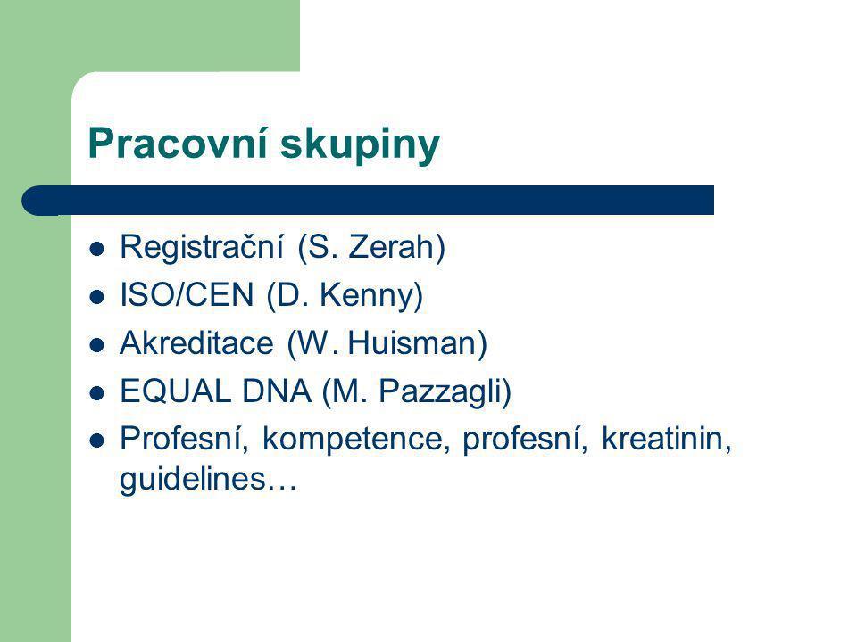 Pracovní skupiny Registrační (S. Zerah) ISO/CEN (D. Kenny) Akreditace (W. Huisman) EQUAL DNA (M. Pazzagli) Profesní, kompetence, profesní, kreatinin,