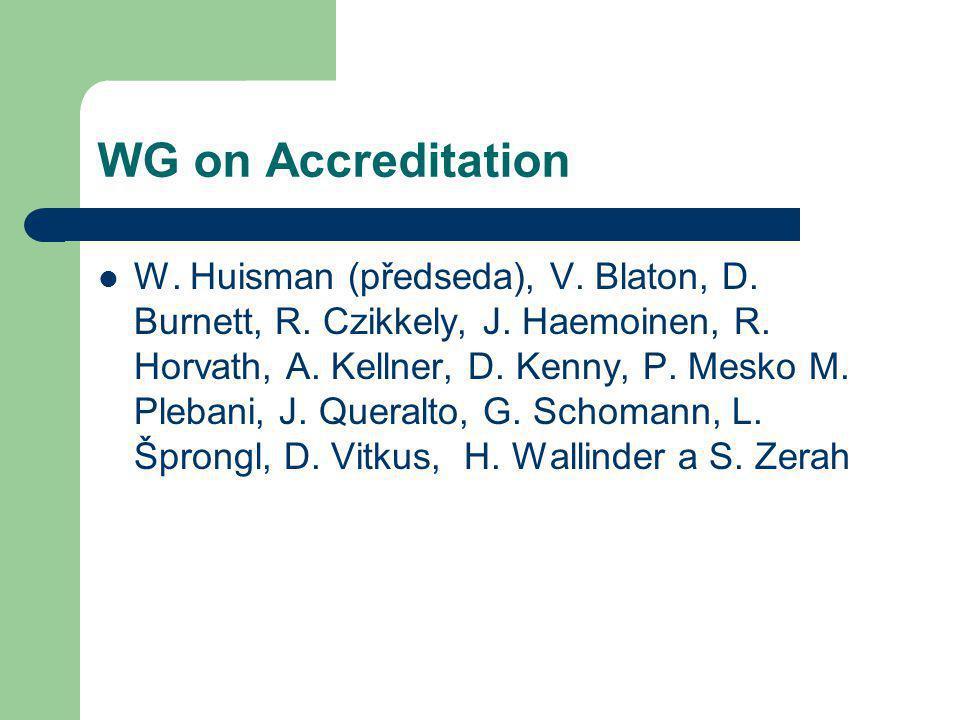 WG on Accreditation W. Huisman (předseda), V. Blaton, D. Burnett, R. Czikkely, J. Haemoinen, R. Horvath, A. Kellner, D. Kenny, P. Mesko M. Plebani, J.