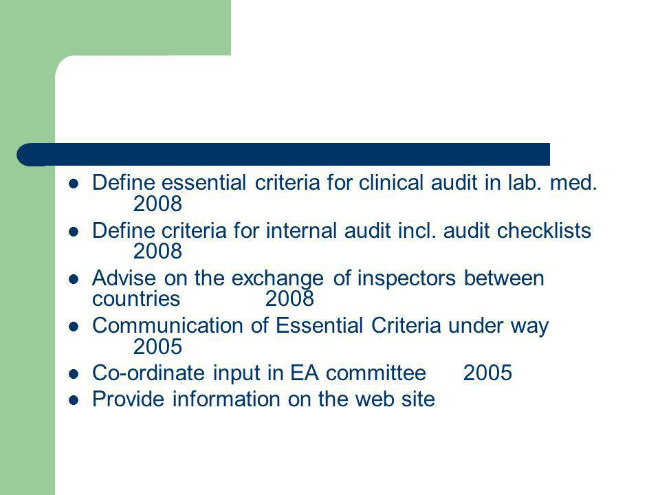 Define essential criteria for clinical audit in lab. med. 2008 Define criteria for internal audit incl. audit checklists 2008 Advise on the exchange o