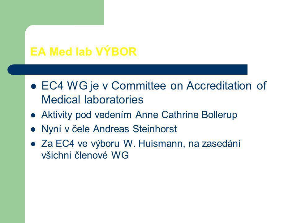 EA Med lab VÝBOR EC4 WG je v Committee on Accreditation of Medical laboratories Aktivity pod vedením Anne Cathrine Bollerup Nyní v čele Andreas Steinh