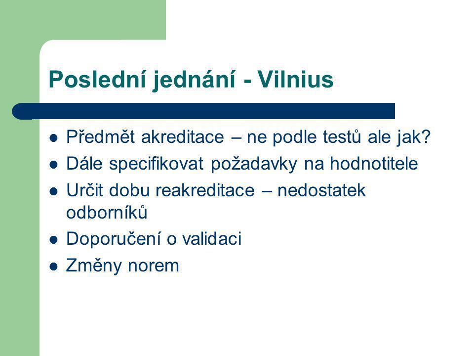 Poslední jednání - Vilnius Předmět akreditace – ne podle testů ale jak? Dále specifikovat požadavky na hodnotitele Určit dobu reakreditace – nedostate