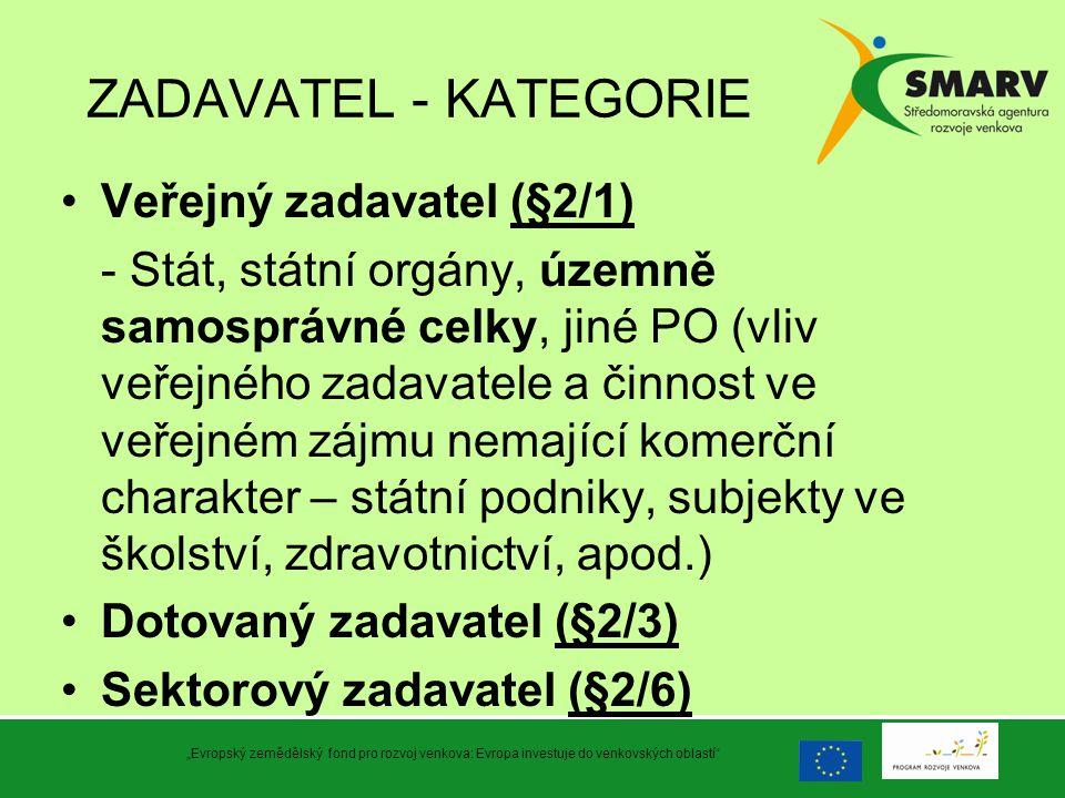ZADAVATEL - KATEGORIE Veřejný zadavatel (§2/1) - Stát, státní orgány, územně samosprávné celky, jiné PO (vliv veřejného zadavatele a činnost ve veřejn