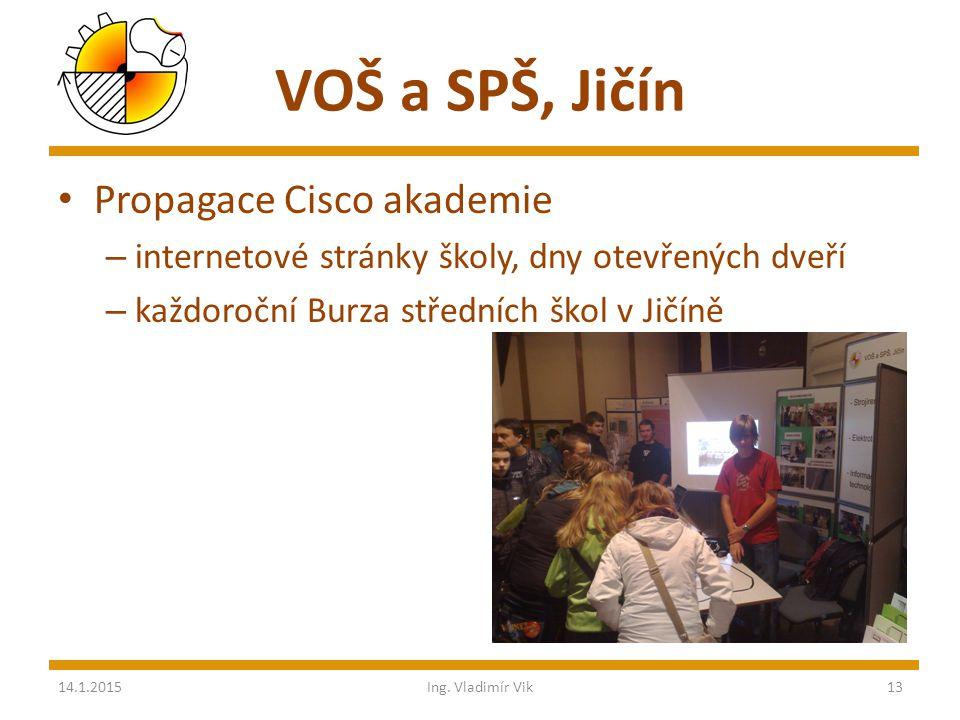 VOŠ a SPŠ, Jičín Propagace Cisco akademie – internetové stránky školy, dny otevřených dveří – každoroční Burza středních škol v Jičíně 14.1.2015Ing.