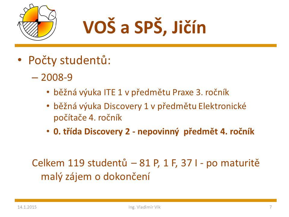 VOŠ a SPŠ, Jičín Počty studentů: – 2008-9 běžná výuka ITE 1 v předmětu Praxe 3.