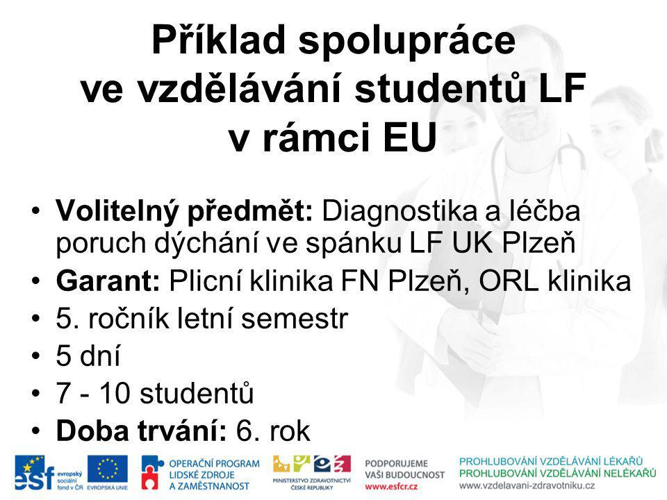Příklad spolupráce ve vzdělávání studentů LF v rámci EU Volitelný předmět: Diagnostika a léčba poruch dýchání ve spánku LF UK Plzeň Garant: Plicní klinika FN Plzeň, ORL klinika 5.
